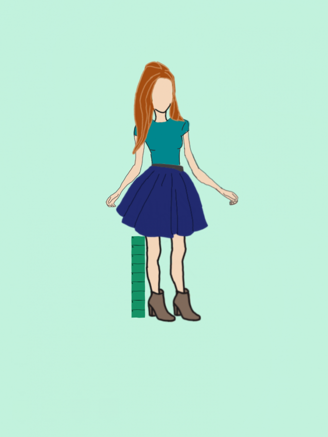 The writer of the article also made this graphic. Demonstrating a girl's skirt being measured.